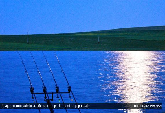 Noapte cu lumina de luna reflectata pe apa. Incercati un pop-up alb.